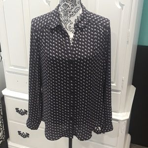 Ann Taylor Loft Navy and white button-up blouse